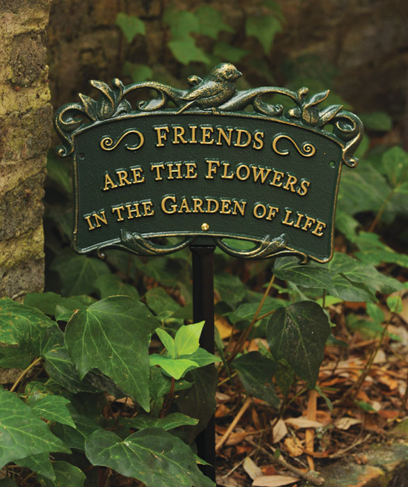 "8710: ""Friends Are the Flowers"" Bird Sign/Green (Product Detail)"