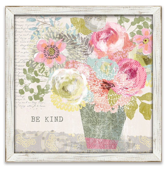 "8698: ""Be Kind"" Floral Wall Art (Product Detail)"