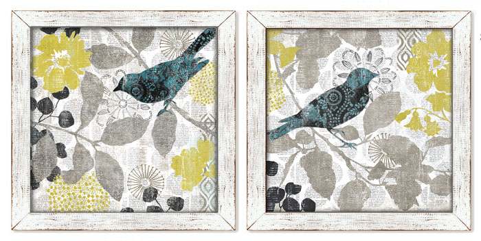 8708: Newsprint Birds (Set of Two) (Product Detail)