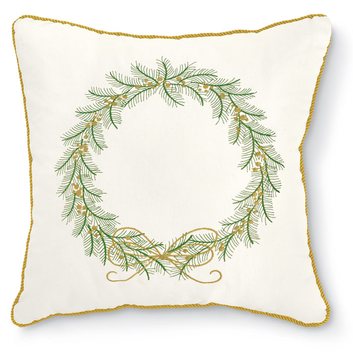 8228: Embroidered Wreath Pillow Without Monogram (Product Detail)