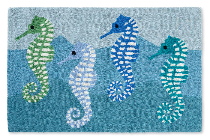 8515: Blue Seahorses Rug (Product Detail)
