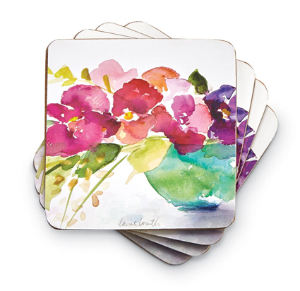 8767: Pastel Blooms Coasters (Set of Four) (Product Detail)