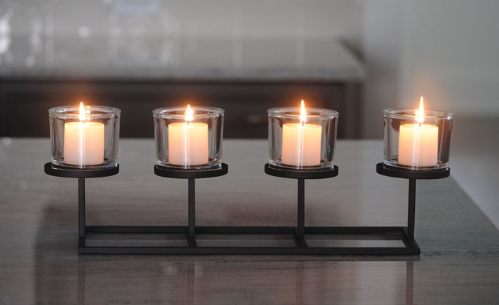 8626: Candleholder: Row of Four Hurricanes (Product Detail)