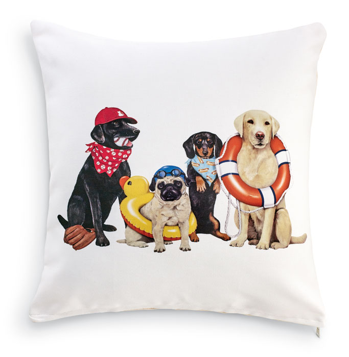 8535: Summer Sports Dogs Pillow (Product Detail)