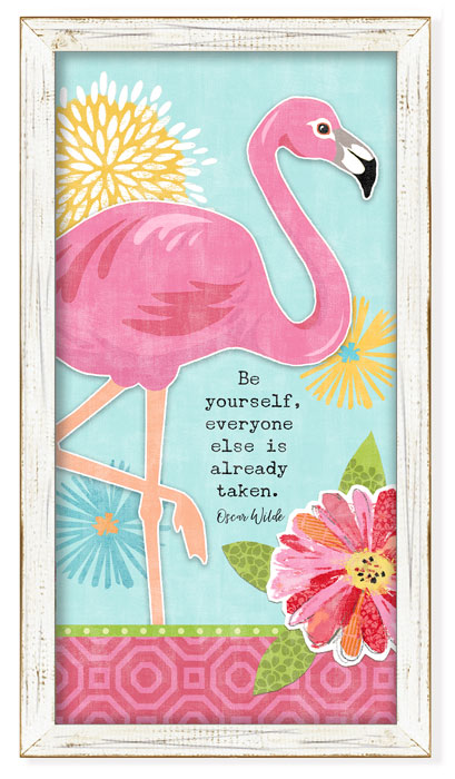 "8757: ""Be Yourself"" Flamingo Wall Art (Product Detail)"