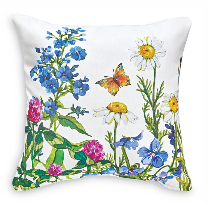 8664: Wildflowers and Butterflies II Pillow - White (Product Detail)