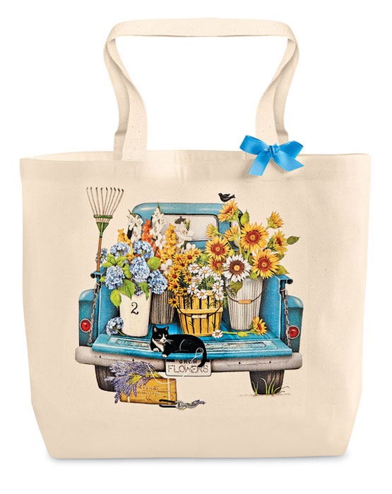 9971: Summer Flowers Truck Tote Bag (Product Detail)
